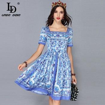 817c8692e4a LD Linda della Новая мода взлетно-посадочной полосы летнее платье Для женщин  короткий рукав Повседневное Винтаж синий и белый платье с принтом