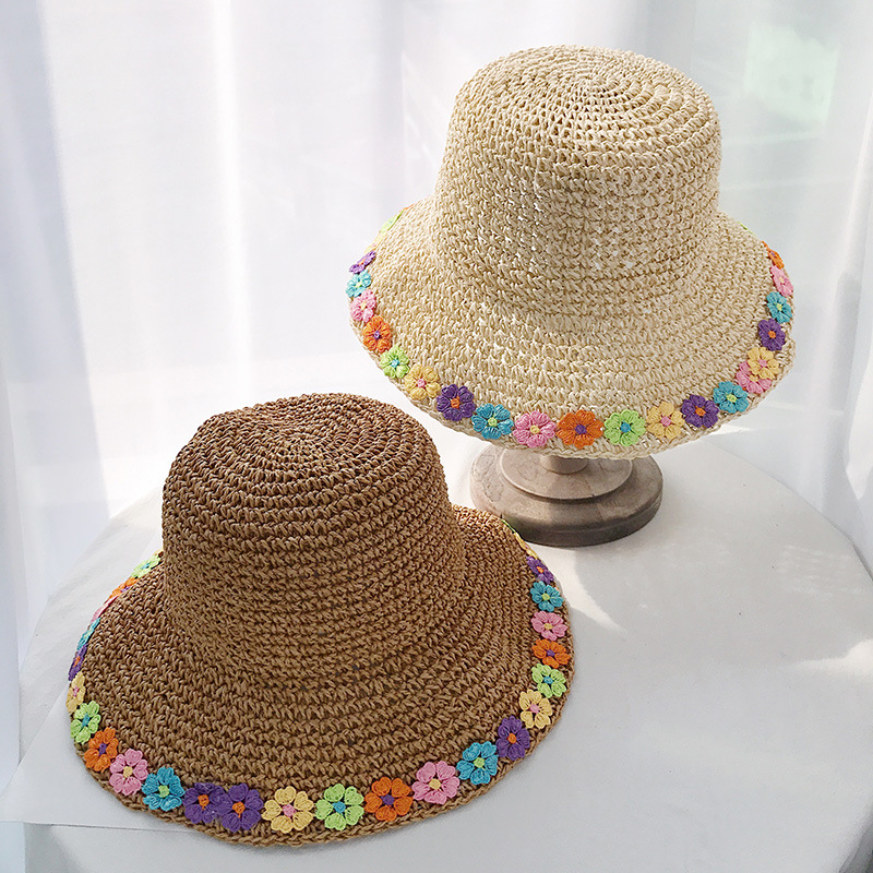 Women Summer Floral Beach Sun Hat 2019 New Arrivals Foldable Outing Beach Flower Hand Hook Straw Hats Female Summer Sunshade Hat(China)