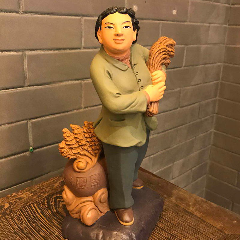 30cm chinese style People statue harvest Home decor statues Custom Wood Clay sculpture statues Handmade Craft escultura in Statues Sculptures from Home Garden