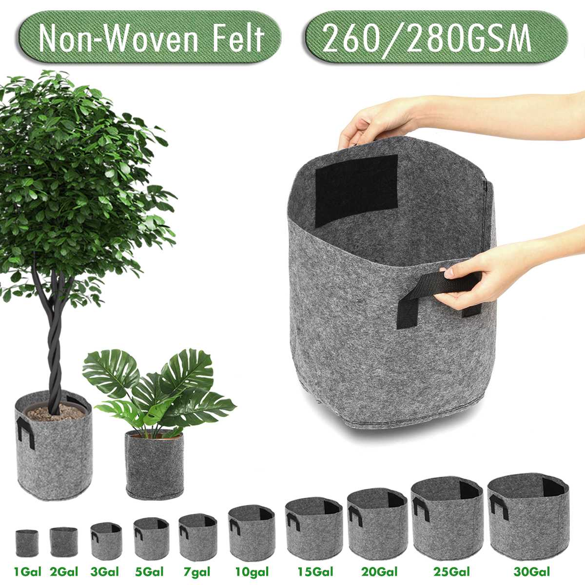 Non-Woven Felt 1-30 Gallon Fabric Grow Bags Breathable Pots Planter Root Pouch Container Plant Smart Pots With Handles Garden Su