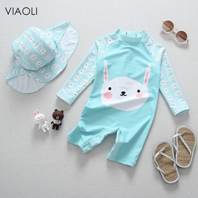 141c47861344c Children's girls baby simple bunny print small fresh blue swimwear long  sleeve one-piece sunscreen surf new beach swimsuit 2018