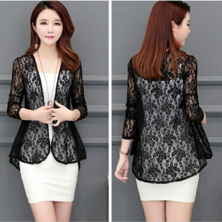 Lace Shawl Jacket 2019 Summer Short Blouse Outside Thin Section Cardigan Long Sleeve Sun Protection Clothing Wild Blouse Shirt