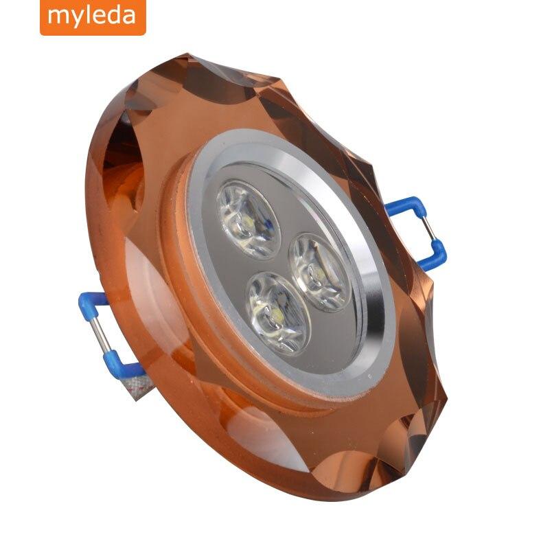 LED crystal Recessed Ceiling Light Lamp 3W 85V-265V white Warm White color