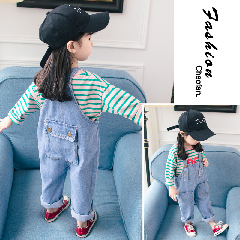 Baby Girls Jeans Denim Overalls Loose Style Long Soft Cotton Suspender  Jeans Baby Girls Outfit