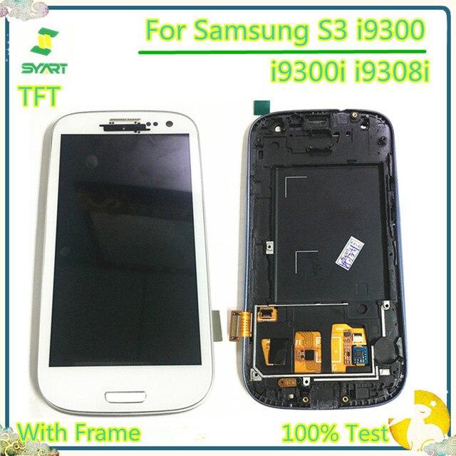 100% probado 4,8 ''TFT LCD pantalla LCD con pantalla táctil digitalizador montaje con marco para Samsung Galaxy S3 i9300 i9300i i9308i