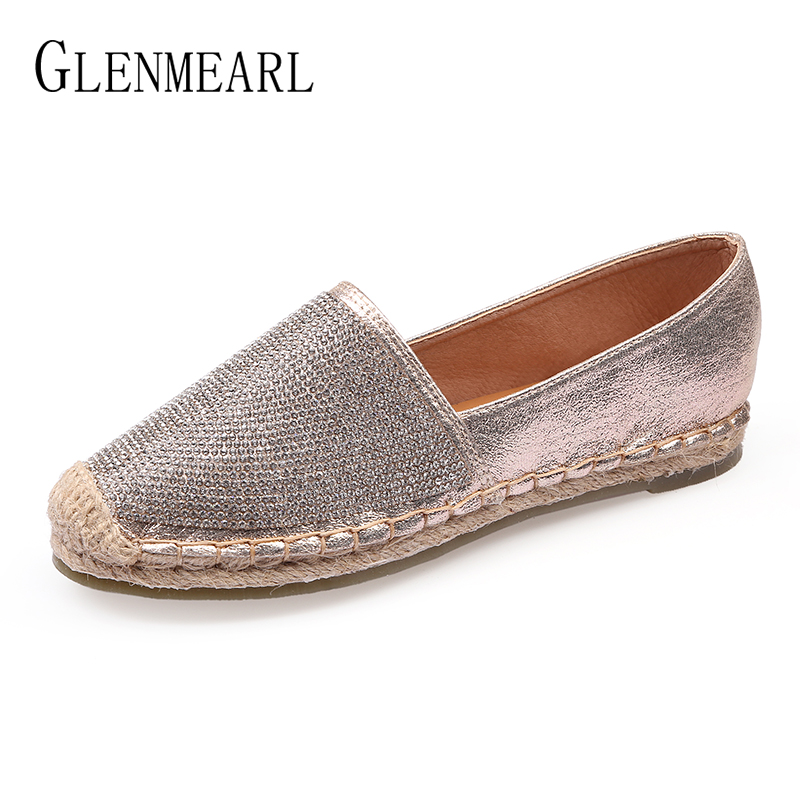 Fisherman Shoes Women Flats Casual Round Toe Spring Lazy Loafers Bling Woman Single Sneakers Summer Shoes Brand Female Flats DE genshuo women flats shoes casual round toe loafers fisherman espadrilles lazy hemp rope weave shoes woman black pink black pink