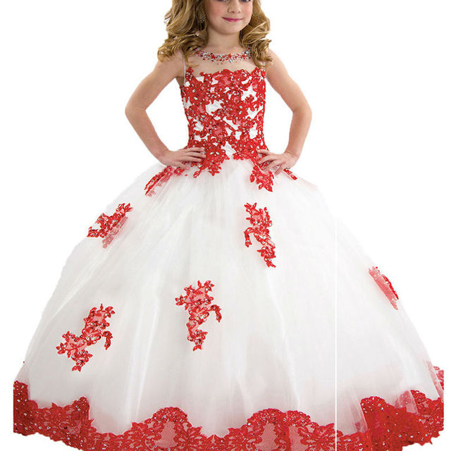 Low Cost Hot Flower Girl Dresses Transparent High Collar Lace First ...