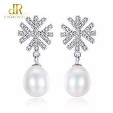DR Brand 100% 925 Sterling Silver Romantic Snowflake Pearl Stud Earrings for Women Wedding Jewelry Accessories Girls Gift