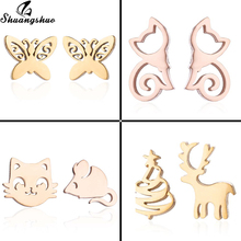 Shuangshuo Fashion Mickey Stud Earrings for Women Kids Jewelry Mouse Butterfly Deer Cat Earings Stainless Steel Earing Pendients