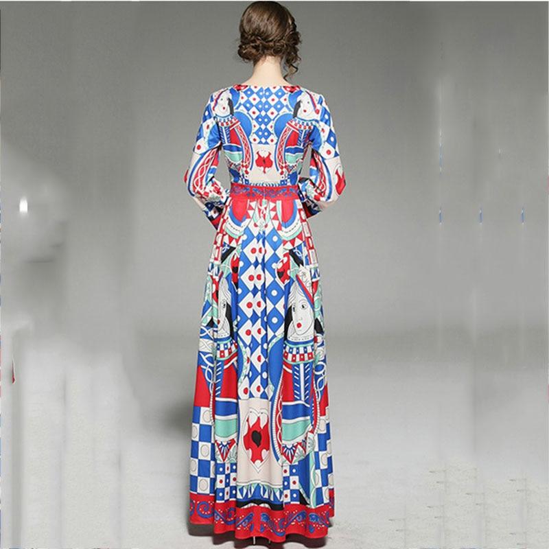 Europe Street Women High Abstract Elegant Plaid Runway Dresses Fashion Print Party Full Geometry Maxi Vestidos Swing Red Big HzRf5w