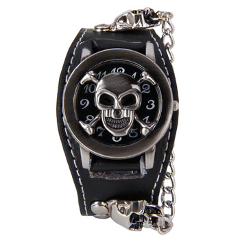 Copper Skull Leather Watch Men Sports Quartz Wrist Watch