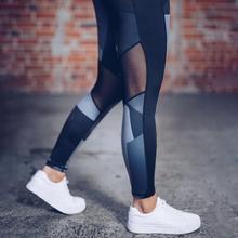 Yoga leggings mulheres calças de camuflagem das Mulheres impresso malha costura correspondência de cores yoga leggings preto roupas esportivas parágrafo como mulhe