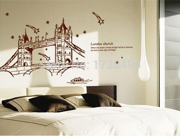 Grosir stiker dinding removable baru, Kamar tidur latar