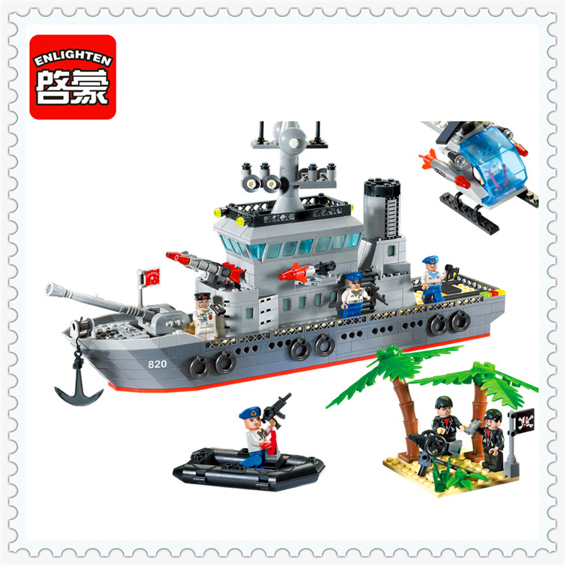 ENLIGHTEN 820 Military Convoy Military Ship Model Building Block Compatible Legoe 614Pcs DIY   Toys For Children decool 3117 city creator 3 in 1 vacation getaways model building blocks enlighten diy figure toys for children compatible legoe