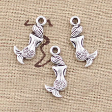 15pcs Charms lovely mermaid fish 21x10mm Antique Making pendant fit,Vintage Tibetan Silver,DIY bracelet necklace(China)