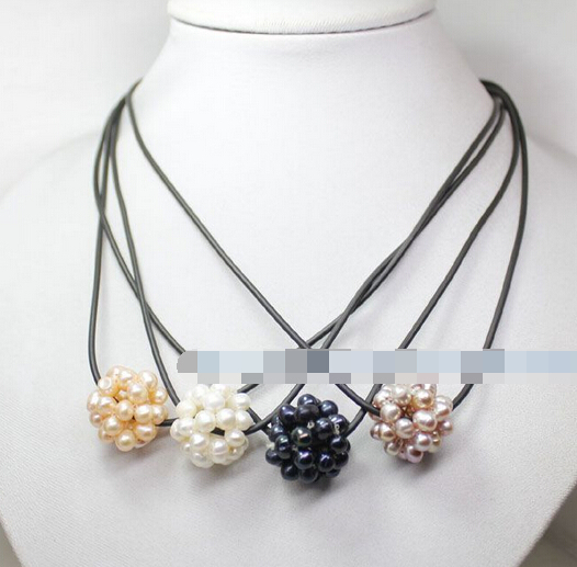 Jewelr 004956 4pcs white pink lilac black pearl weave ball pendant necklace