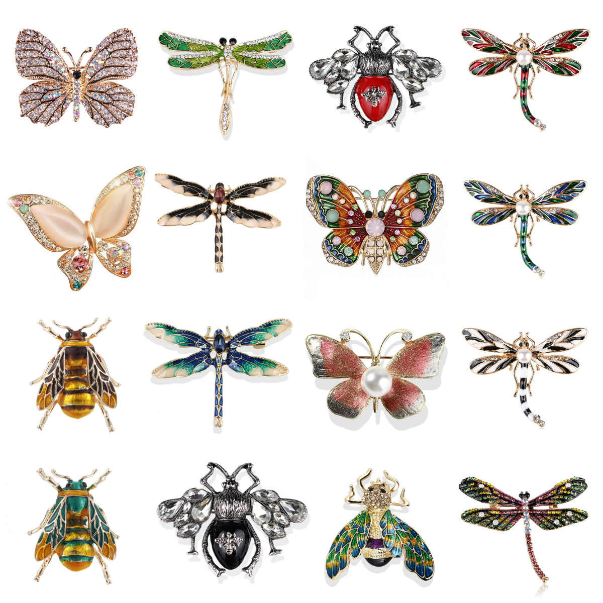 Fashion Butterfly Bros untuk Wanita Sempurna Berlian Imitasi Kristal Jilbab Pin Hadiah Natal Bros