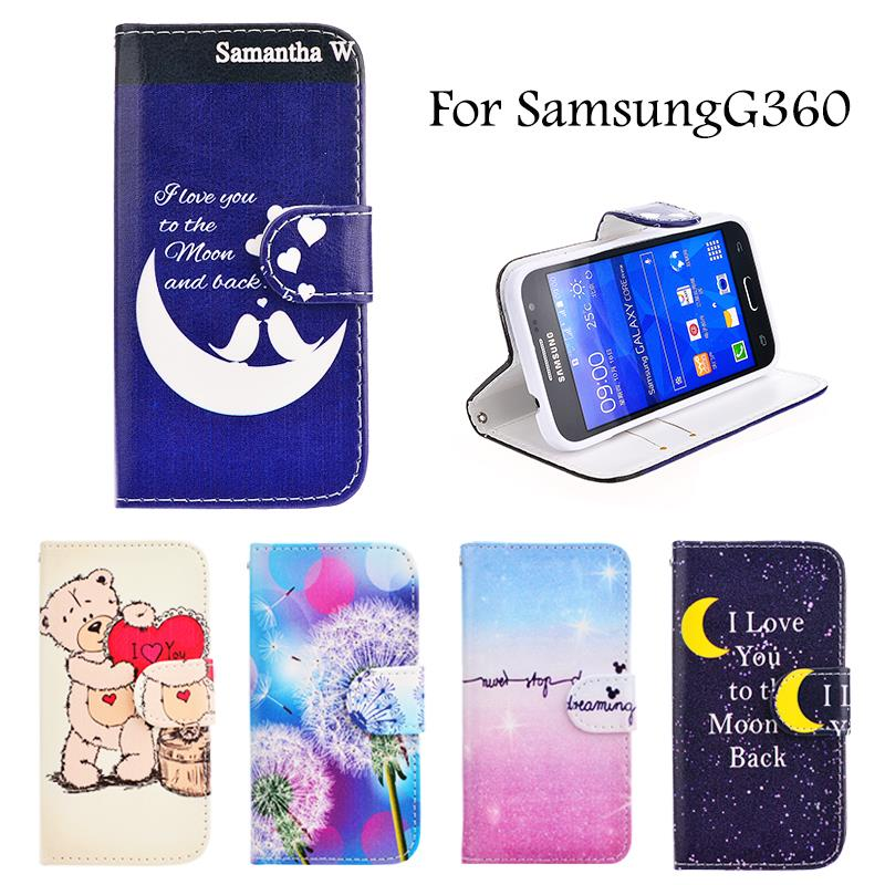 Fashion Rainbow Flower Leather Flip Cover Case For Samsung Galaxy Core Prime LTE G360 G361 G360H G361H Card Holder Wallet Cases