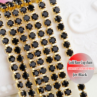 Gold Base Shiny Strass Glass Material Jet Black Crystal Rhinestone Chain Trimming 10 Yards DIY Sewing