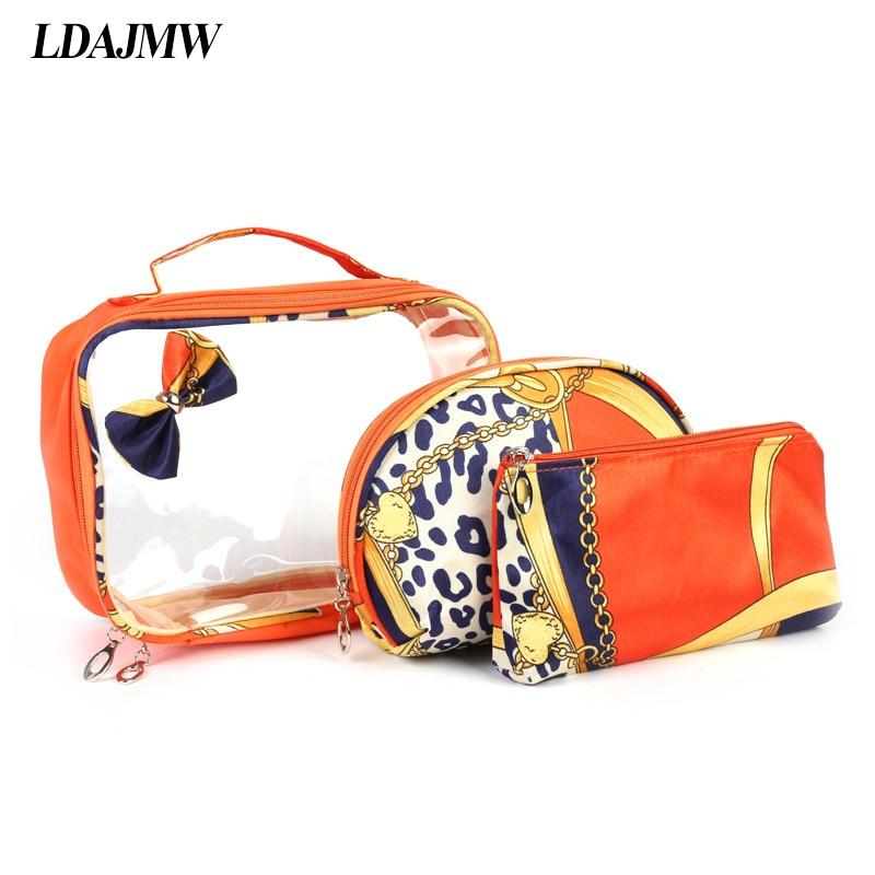 LDAJMW 3Pcs/Set waterproof Transparent Women Wash Cosmetic Bag Makeup Toiletries Make up Pouch Organizer Hand bag Travel Kit