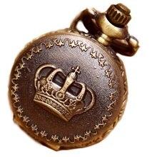 Новый Бронзовый Малый корона карманные часы Для женщин Винтаж классический Аналоговый кварцевый платье часы Женщина Винтаж Цепочки и ожерелья