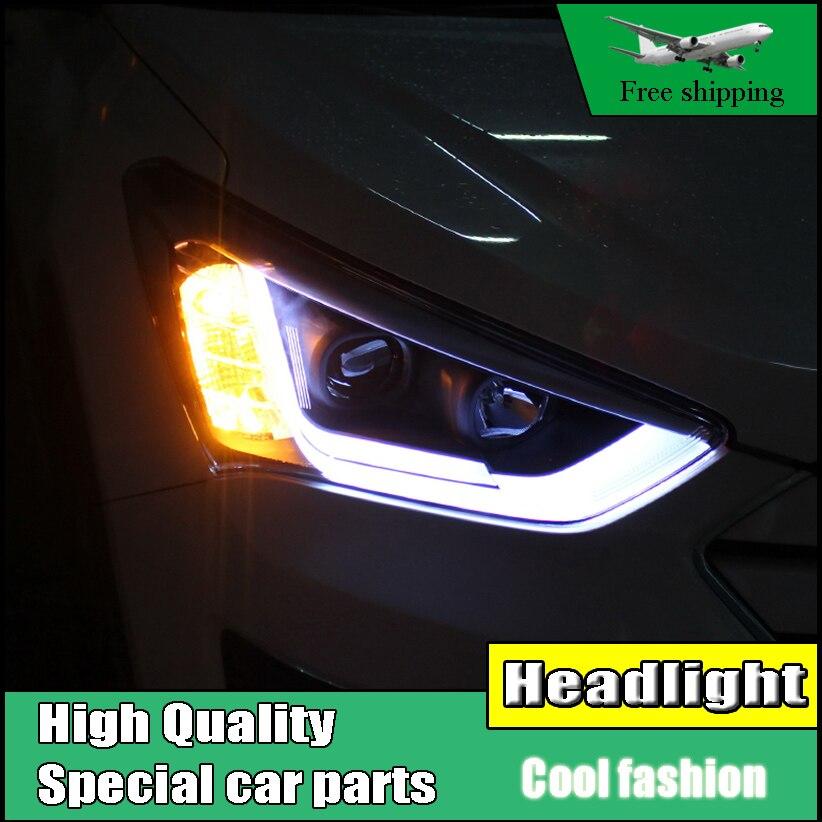 Car Styling Head Lamp Case For Hyundai New SantaFe IX45 Headlights 2013-2015 LED Headlight DRL Double Beam Lens Xenon Low Beam for hyundai tucson 2004 2008 led head lamp