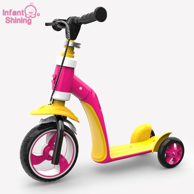 Bebé brillante chico bicicleta paseo en el juguete de 1 6 años Scooter 2 en 1 bicicleta bebé regalo de cumpleaños para niño y niña-in Coches para montarse from Juguetes y pasatiempos    2