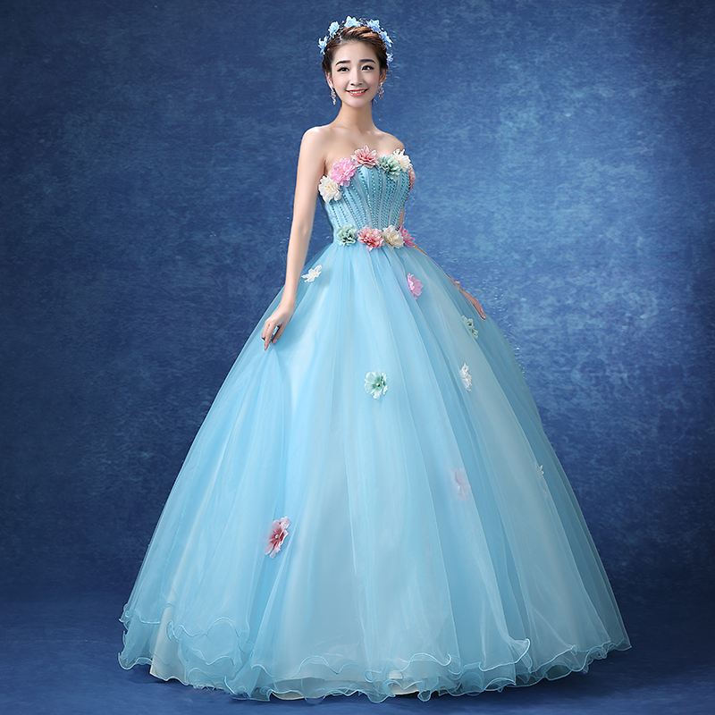 Medieval Renaissance Light Blue And White Gown Dress: Light Blue Beading Flowers Ball Gown Medieval Cosplay