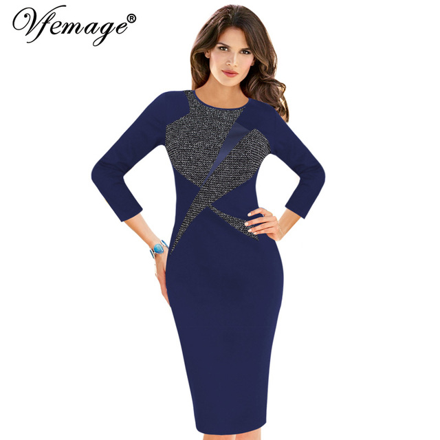 Vfemage Womens Autumn Winter Vintage 3 4 Sleeve Color-Blocked Contrast Patchwork  Work Business Party Bodycon Pencil Dress 18325 5e70e855c