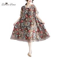 BelineRosa 2018 Plus Size Chiffon Dress Vintage Style leaf Printing Loose Dresses 4XL 5XL Big Sizes Women Clothing XMR00077