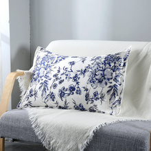 Blue Flower Printed Mulberry Silk Pillowcase Single Side Bedding Pillowslips With Cotton