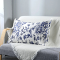Blue Flower Printed Mulberry Silk Pillowcase Single Side Silk Bedding Pillowslips Silk With faux silk