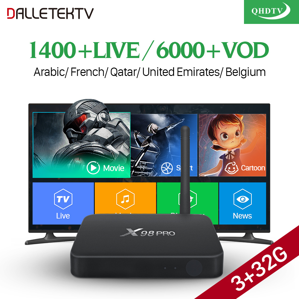 IPTV Decoder Belgium France Arabic X98 Pro 3G/32G Support BT4.0 2.4G+5.8G Dual-Band Wi-Fi IPTV Subscription Code Year IP TV Box цена