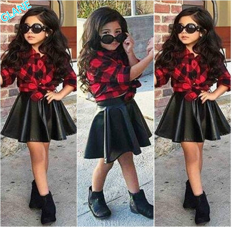Ruffle Leather Skirt Outfit Set UK Fashion Kids Baby Girl Clothes Leopard Tops