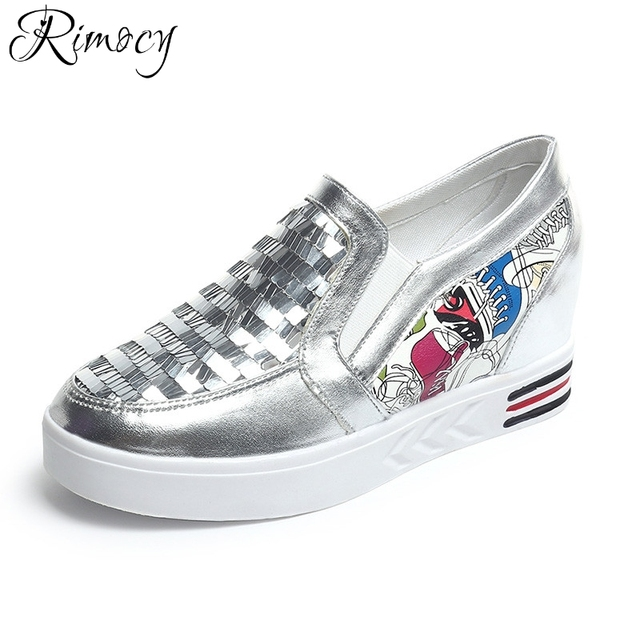 0ed8623d644 Rimocy shinning glitter silver loafers women sexy height increasing slip on  casual shoes woman fashion breathable flats summer