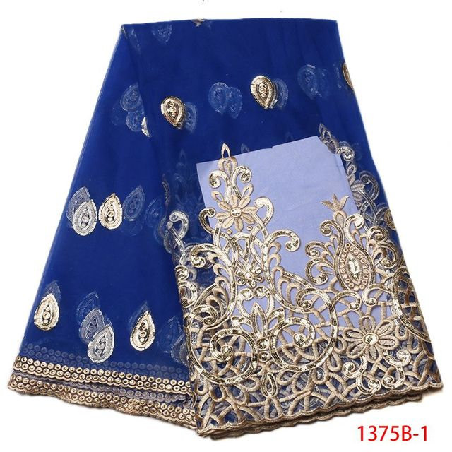 Sequin Tulle Lace Fabric Royal Blue Gold Embroidery Lace Fabric ...
