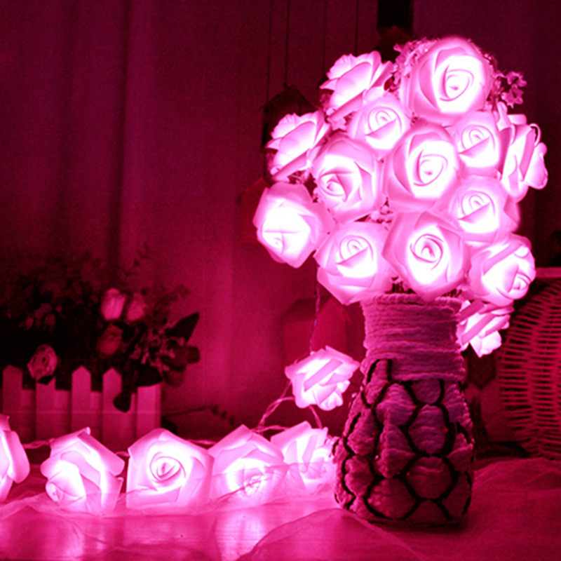Grn Flashing Led String Lights 2m/3m/4m/5m/10m Rose Flower Shape Colorful Inside Light For Garden Party Wedding Decoration