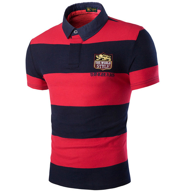 2016 Polos Hombre Manga Corta Marca Cotton Fashion Stripe Camisa Polo Summer Short-Sleeve Casual Shirts Large Size 3XL
