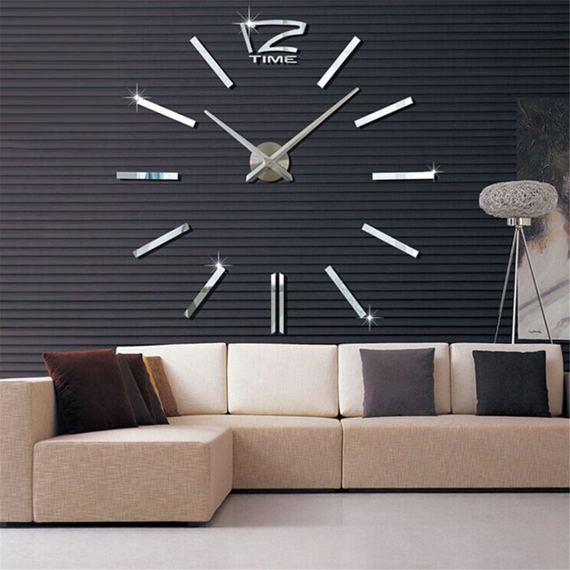 Large size wall clock 3d diy sticker home decoration vintage oversize artistic needle circular clock for