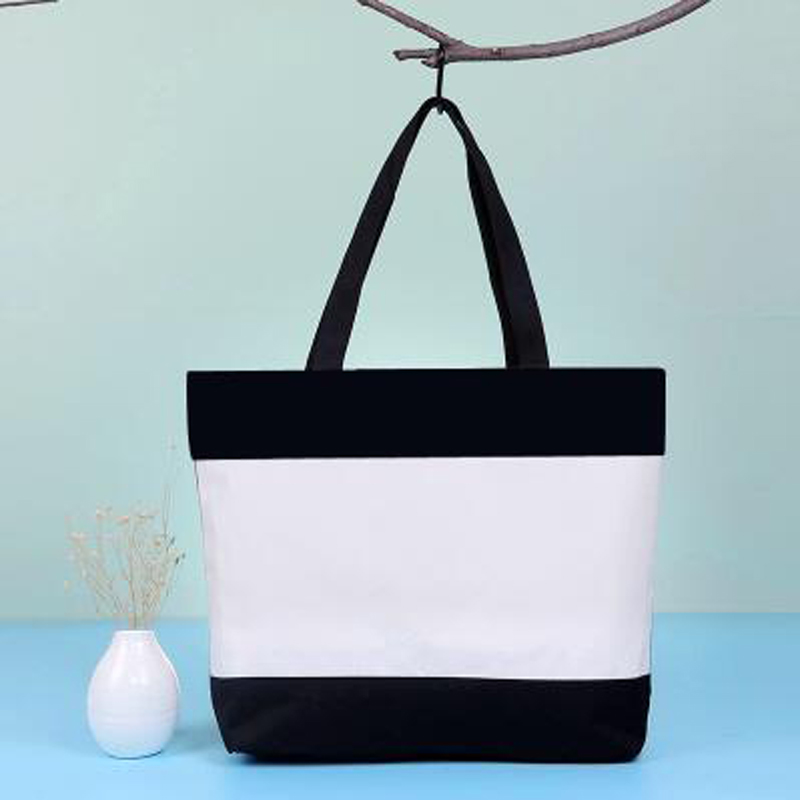 Black and White DIY women tote canvas shopping bag with zipper