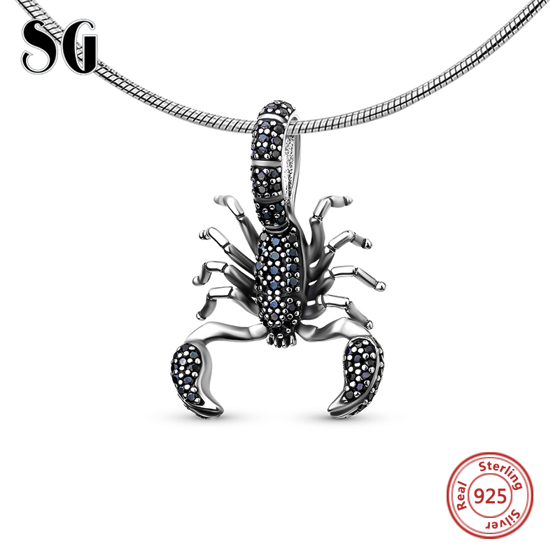 Crna Scorpion Fit pandora Privjesak, Thomas Stil Rebel diy Nakit za muškarce i žene, Ts Poklon U 925 Sterling Silver