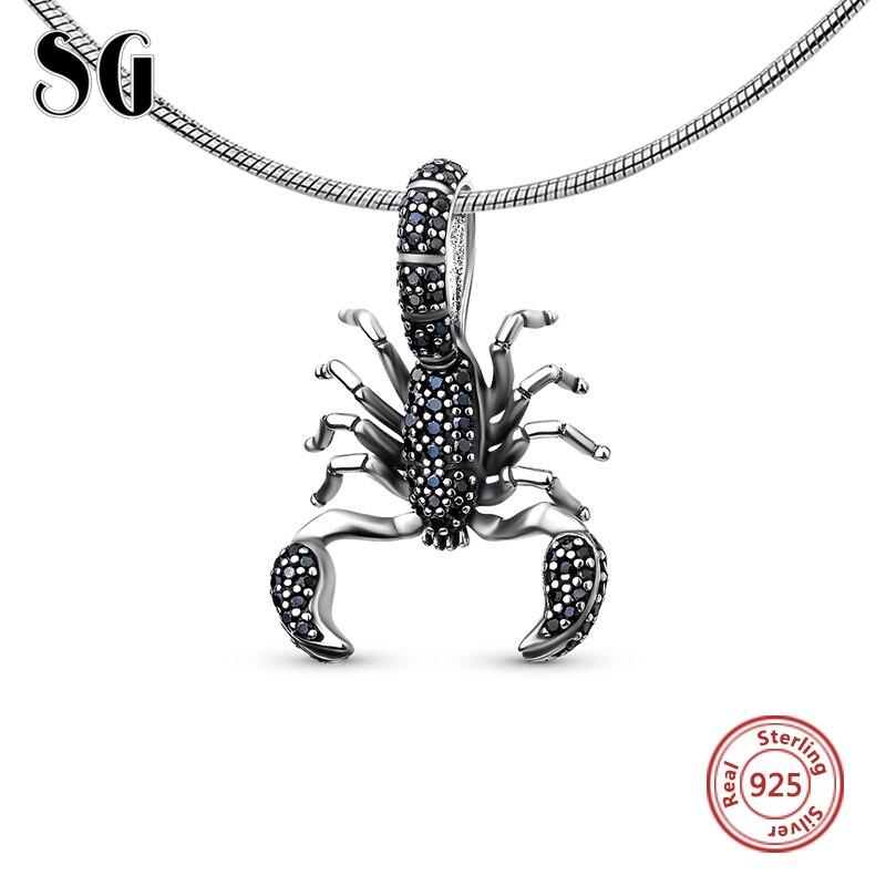 Escorpión Negro Fit pandora colgante estilo Thomas rebelde de la joyería de diy para los hombres y las mujeres ts regalo en plata de ley 925 Super ofertas