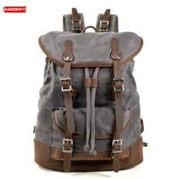 Canvas stitching leather Men backpacks male outdoor waterproof travel backpack Large capacity sports bag student computer bags