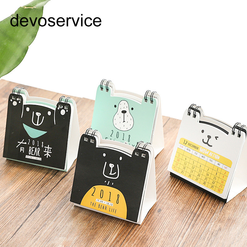 1Pc 2018 Desktop Calendar Cute Cartoon Bear Shape Paper DIY New Year Perpetual Calendars Plan Notebook School Office Supplies