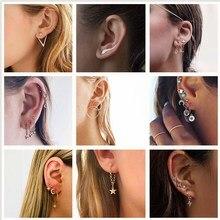 Новая мода, золотые серьги в форме звезды, Луны, простое кольцо для ушей, этнические ювелирные изделия, подарок, Кристальные круглые геометрические серьги для женщин, бижутерия