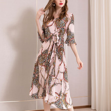 Two Piece Dress 100% Silk Dresses Sweet Pink Print V Neck Flare Sleeve Summer Irregular sukienka Casual Holiday Beach vestidos