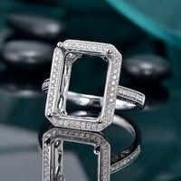 8cd7c3fec291 Caimao 8x13mm Emerald Cut 14ct White Gold Halo Full Cut Diamond Milgrain  Engagement Ring Semi Mount