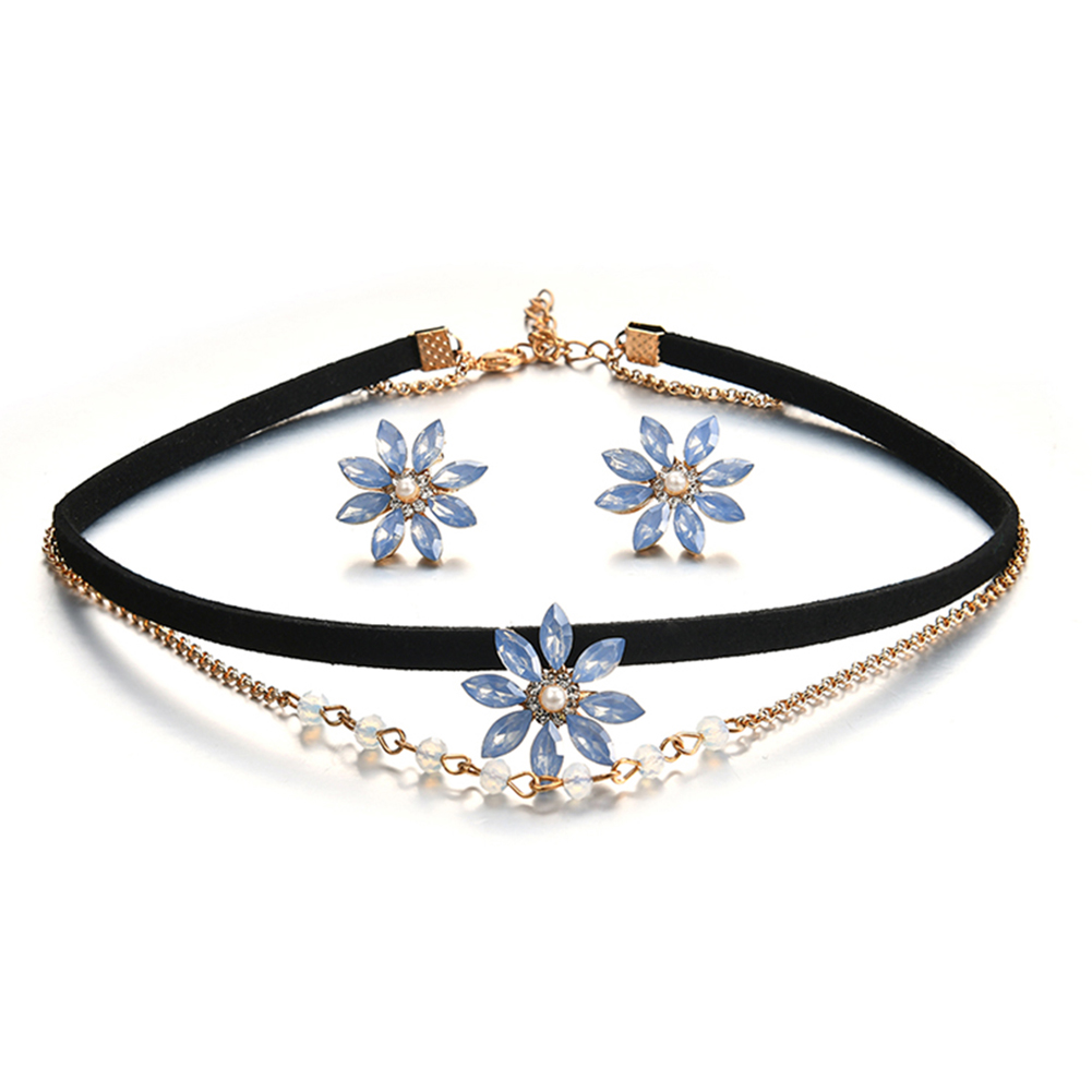 2017 Double Layer Chain Choker Collar Flower Rhinestone Bead Earring Necklace Jewelry