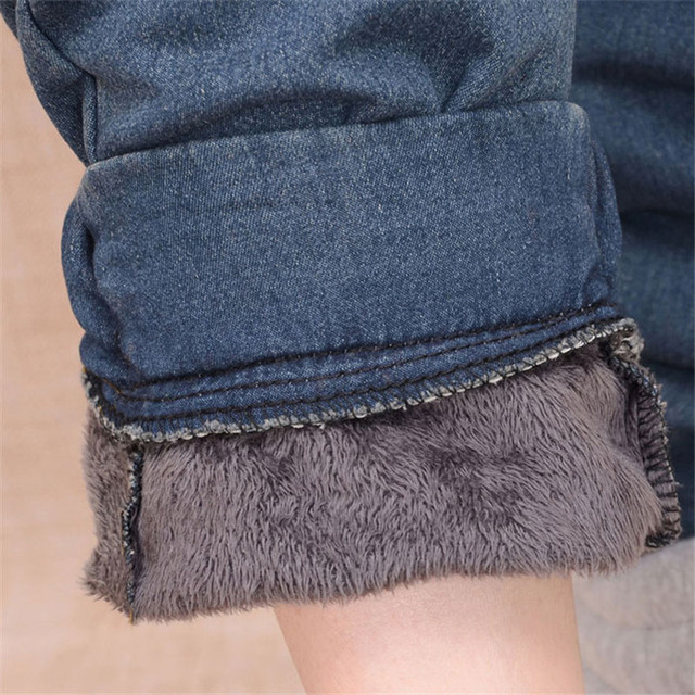 Arrival Winter Warm Jeans Women Thicken Fleece Skinny Harem Pants Trousers Elastic Waist Denim Trousers Plus Size Pants C1504 5