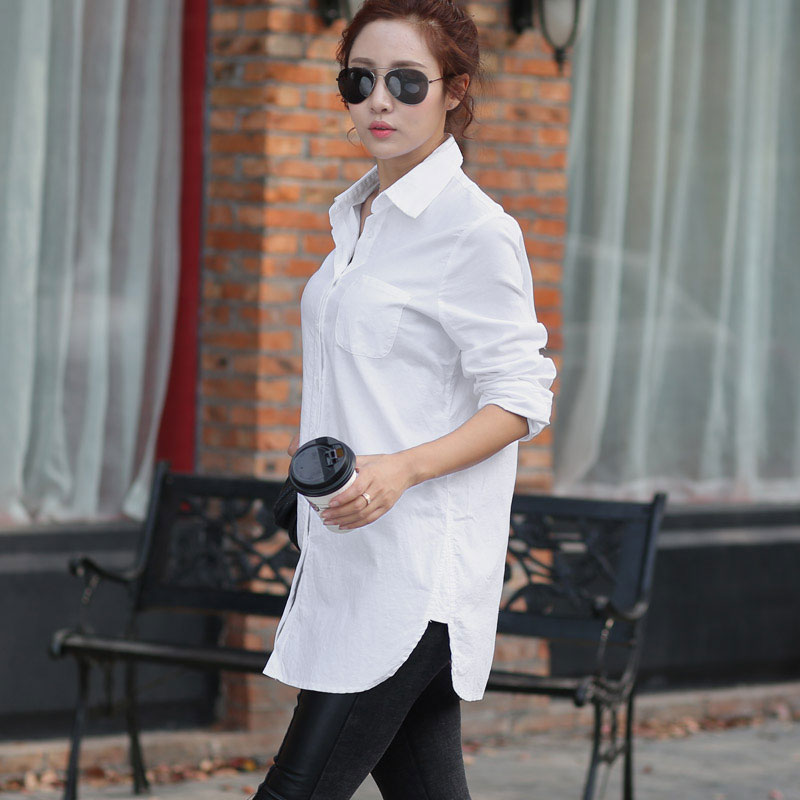 Women White Blouse Female Boyfriend Style Long Sleeve Oversize Shirt Fashion Collar Cotton Tops Casual Loose Shirts